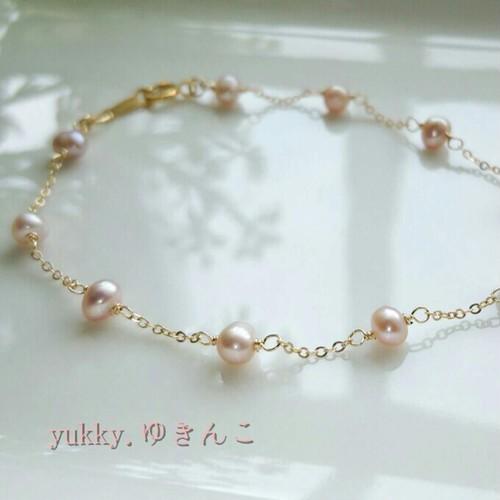 淡水真珠(ラベンダーピンク)*Bracelet(14Kgf)