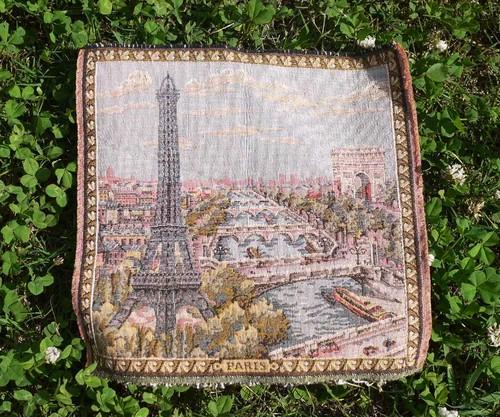 ヴィンテージ生地 パリの風景 タペストリー ゴブラン織り ノスタルジック スーベニール