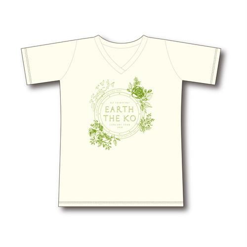 【EARTH THE KO】オーガニックコットン使用 VネックTシャツ ≪Lサイズ≫