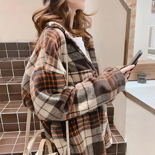 【送料無料】 冬の羽織りに♡ メンズライク プルオーバー オーバーサイズ チェック シャツ ゆるだぼ
