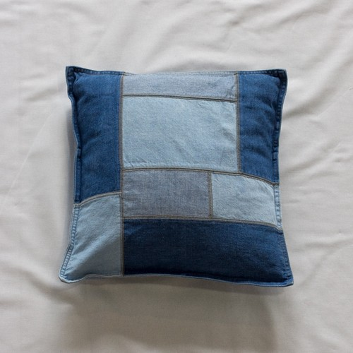 Denim Patchwork Cushion Cover(BLEACH)