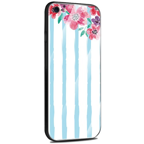 Jenny Desse OPPO R11S Plus ケース カバー 背面強化ガラスケース  背面ガラスフィルム シリコンハイブリッドケース 対応 sim free 対応 花とストライプ(青)