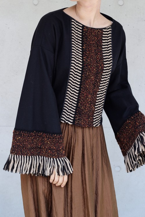 【 EBONY】wool lace blouse-black