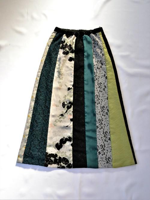 ●着物地とレースのスカート:絽の朝顔(小花柄・鶴柄・レース)/着物リメイク/国内送料無料/1903s03