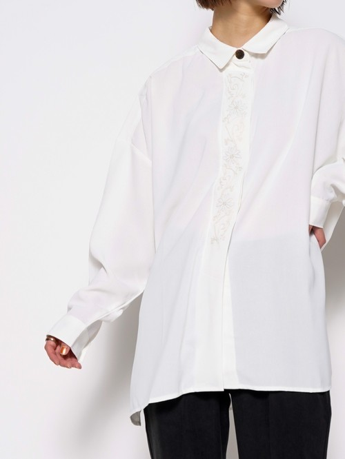 【3colors】EMBROIDERY BIG SHIRTS
