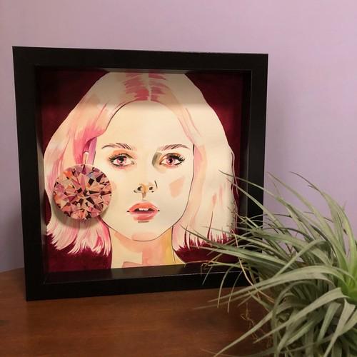 Pink tourmaline(原画・額付き)