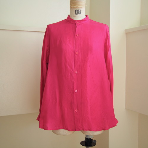 【hippiness】cupro A line shirt (683pink)/【ヒッピネス】キュプラ Aライン シャツ(683ピンク)