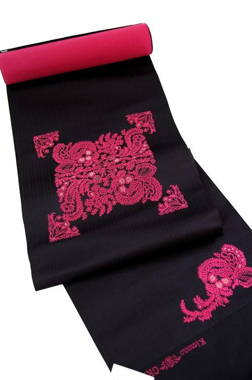 グラースオリジナル博多織八寸帯 花束 黒