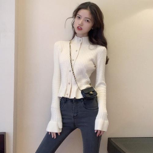 【トップス】気質いいスリムハイネック長袖ショートニットセーター