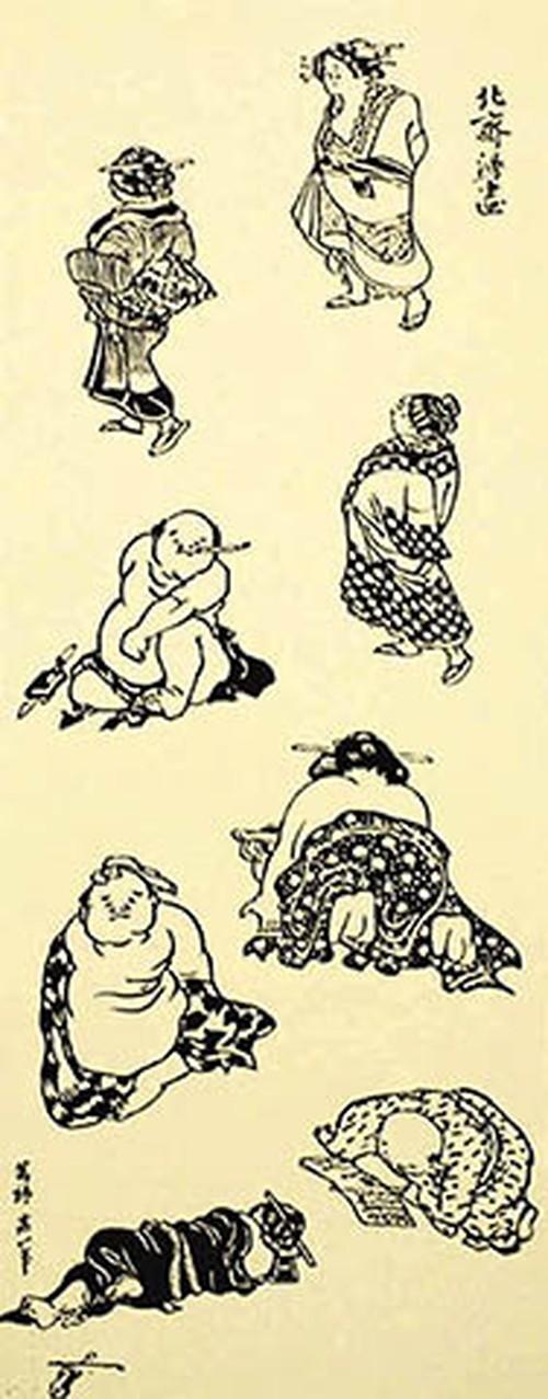 てぬぐい:北斎漫画