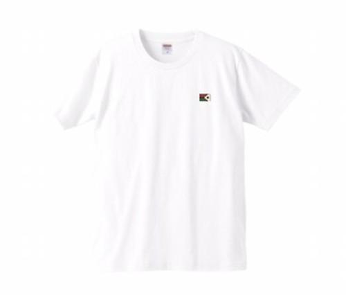KYUS ワンポイトフラッグTシャツ (ホワイト) 綿100パーセント