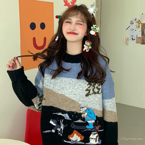 【トップス】ファッションカジュアル合わせやすい刺繍カートゥーンプリントセーター