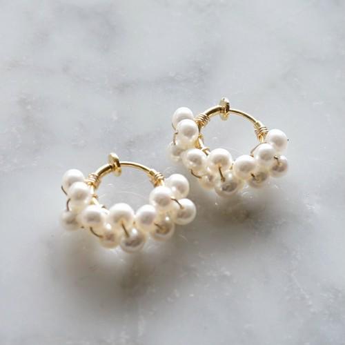送料無料14kgf*Freshwater pearls wrapped pierced earring WHT 4m