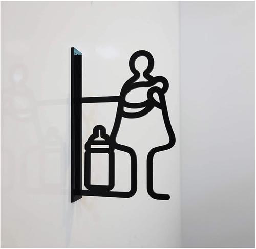 ツケレルン(ピクトサイン) 軽量 アクリル 突き出し 看板 標識 (黒, 授乳室)【送料無料】