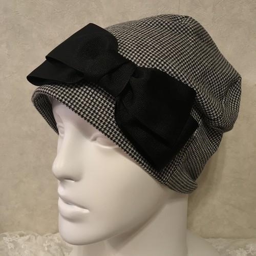 千鳥格子柄のケア帽子 黒