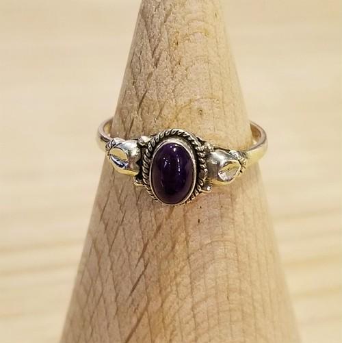 Purple stone silver ring [A-249]