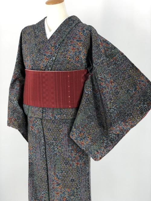 小紋 袷着物 着物 きもの カジュアル着物 仕立て上がり 送料無料 リサイクル着物 中古 身丈163cm 裄丈64.5cm