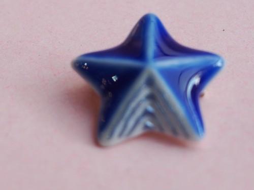 有田焼ミニブローチ 瑠璃星