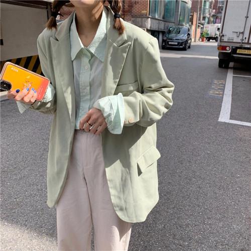 【送料無料】 春ジャケット♡ 大人カジュアル ミントグリーン プルオーバー テーラード ジャケット ゆるシルエット