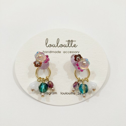 【louloutte】こつぶパープルピアス(2way)