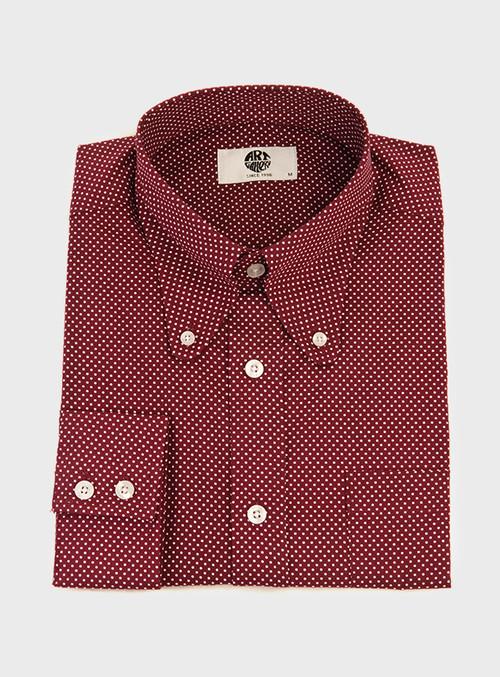 ARTGALLERYポルカドットビーグルカラーボタンダウンシャツ〈ワイン〉
