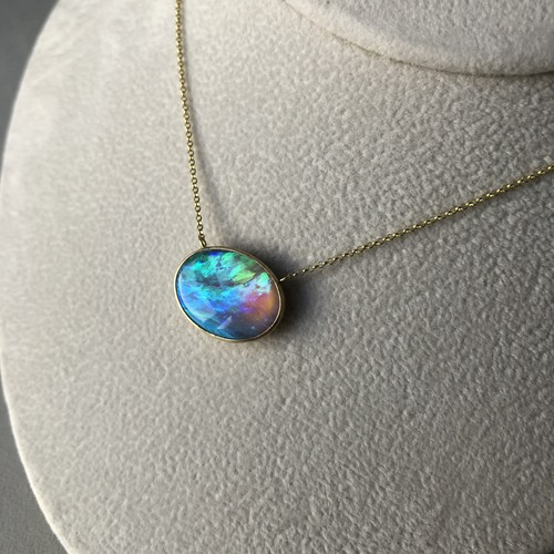 White (Crystal) Opal Blue Reversible Necklace