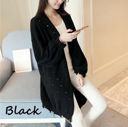 【注文商品】【アパレル】Long Sleeve Knit Sweater Cardigan【Black】