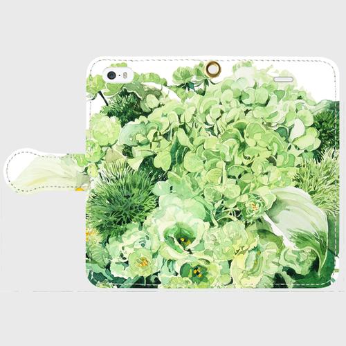 Green bouquet 手帳型スマホケース