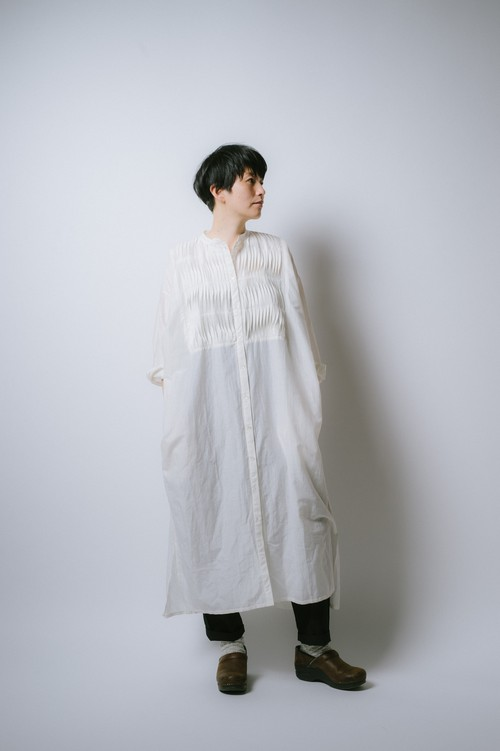 NR1800K  PIN-TUCK SHIRT ONE PIECE / KHADI COTTON