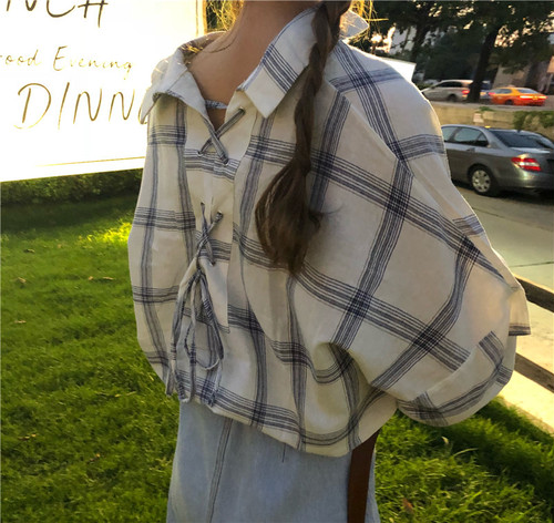 【お取り寄せ商品】back ribbon check shirt 5919