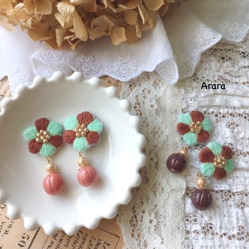 手刺繍お花(ミントチョコ)ピアス・イヤリング