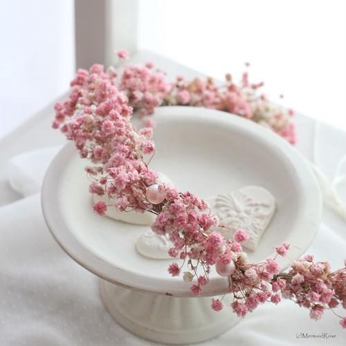 ラスティック花かんむり*カスミソウ(アンティークピンク)