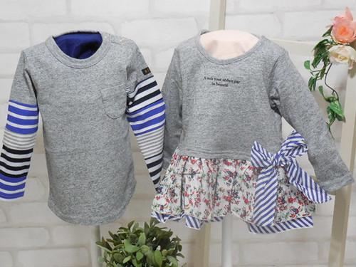 双子ベビー服/2枚セット/ミックスツイン/花柄フリルチュニック&袖デザイン長袖Tシャツ<15ss-mt004r-5>