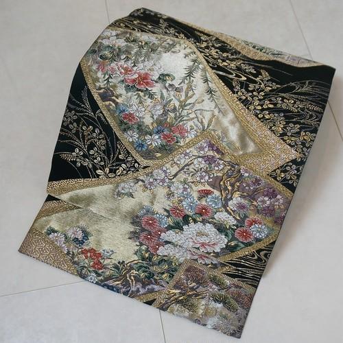 西陣織  唐織り 花柄 色紙 袋帯 金銀糸 百入茶 深緑 220