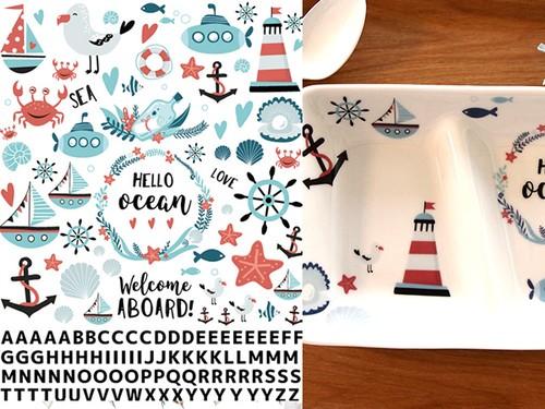 Ocean&alphabet オーシャン&アルファベット A4サイズ(ポーセラーツ用転写紙)