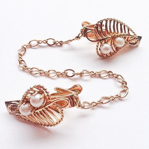 gold leaf & pearl sweater clip[s-157]
