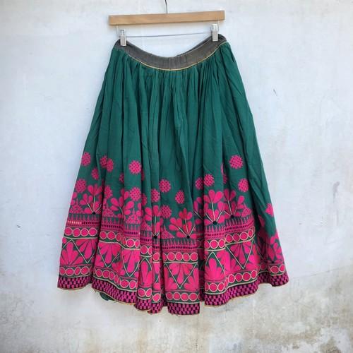 Vintage グジャラティ 刺繍スカート Green