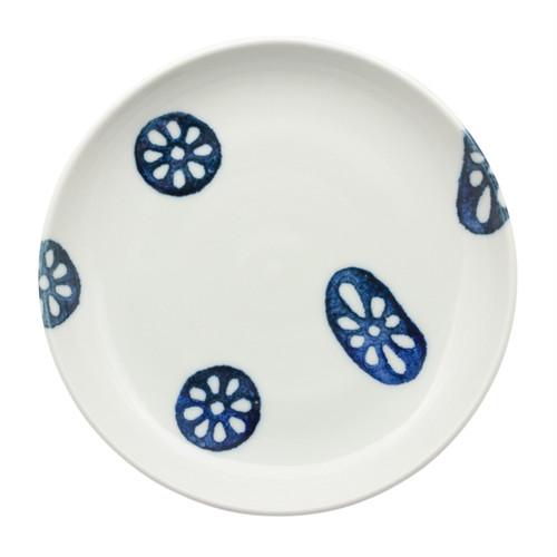 德永遊心窯 印判蓮根 6寸皿