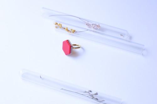 350-r 伝統文化品美濃焼多治見六角タイル指輪・リング(フリーサイズ) ※証明書付 350