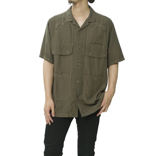 GARMENT DYED OPEN COLLAR HALF SLEEVE SHIRT - KHAKI