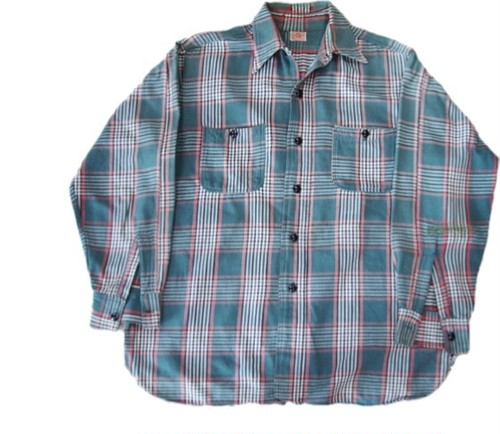 40's 5BROTHER Cotton Nel Shirts(マチ付き,緑×ピンク白黒)