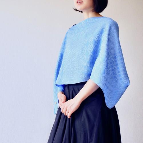 【着まわしできるストール】フィルタンゴストール  吉祥柄 ブルー metaruメタル 京都 丹後の絹織物 シルクストール