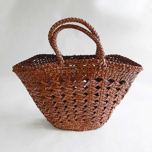 【hinthint】  ヒントヒント 牛革編み メッシュトートバッグ BROWN[夏のバッグ]
