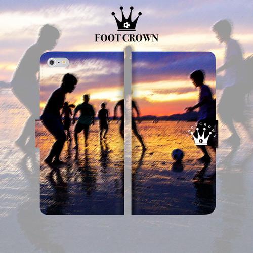 iPhone全機種対応 手帳型スマホケース 夕日 サッカー