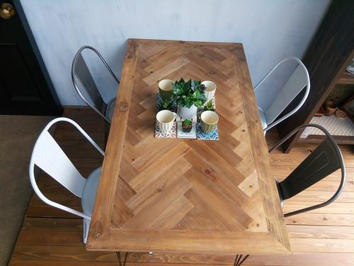 古材ダイニングテーブル ヘリンボーン、 ユニオンジャック