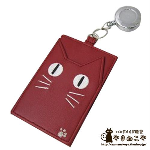 定期入れ(パスケース) ネコ顔 蓄光 リール付 レッド