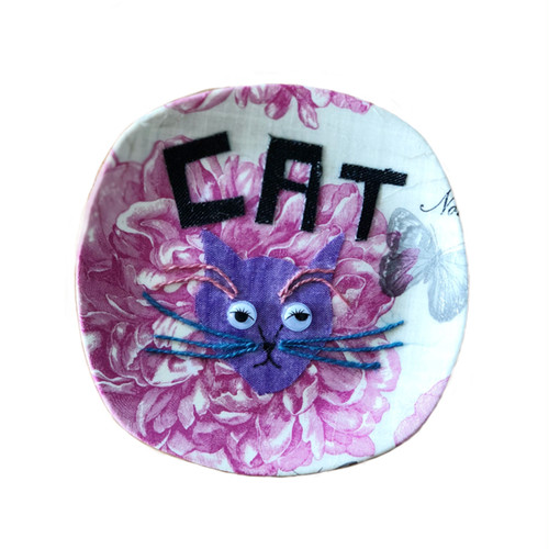 【UPCYCLE】 DECOPAGE PLATE pinkflower CAT