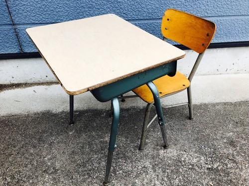 品番1492 スクールデスクセット 学習机セット 机 椅子 スチール足 ヴィンテージ