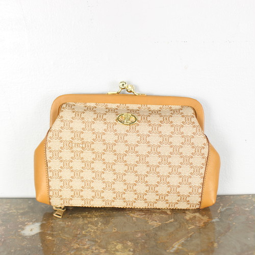 .OLD CELINE MACADAM PATTERNED GAMAGUCHI COIN PURSE MADE IN ITALY/オールドセリーヌマカダム柄がま口小銭入れ 2000000037639