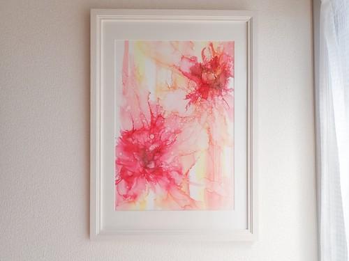 アルコールインクアート052『Strawberry and Vanilla Icecream』